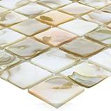 Muschel Perlmutt Mosaikfliesen Kordon Hellbeige