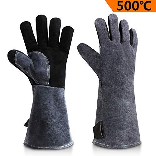 OZERO Aufwärmen BBQ Handschuhe, 500° C Hitzebeständiger Leder Grillhandschuh - Schwarz-grau (40.6 cm) Grau Handschuh