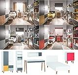 Jugendzimmer Kinderzimmer komplett COLIN Set F Schrank Schreibtisch Bett 120x200 Wandregal Standregal Nachtkonsole 4 Farben neu