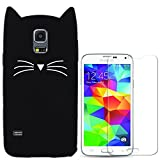 Hcheg Hülle für Samsung Galaxy S5 - 3D Silikon Backcover Case Handy Schutzhülle - Cover klar Katze Design Schwarz Weiß + 1X Screen Protector