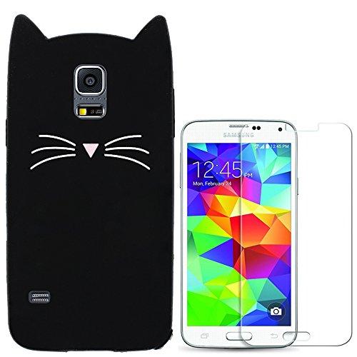 Hcheg Hülle für Samsung Galaxy S5 - 3D Silikon Backcover Case Handy Schutzhülle - Cover klar Katze Design Schwarz Weiß + 1X Screen Protector (Samsung Galaxy S5 Cases Für Mädchen)