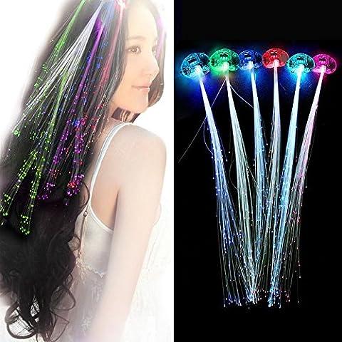 LED fibre optique s'allume - Alternant Flash multicolore pour Cheveux de clignotant - Parti, Noël, mariages, Halloween, Nouvel An etc (12 Pcs)