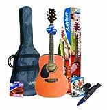 Ashton D25 Pack guitare folk pour gaucher Avec accordeur intégré et accessoires Finition matte naturelle (Import Royaume Uni)
