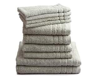 """10 tlg. Handtuchset """"Selmin"""" 2x Duschtücher 70x140 cm, 4x Handtücher 50x100 cm, 4x Gästetücher 30x50 cm in Silber, 100% Baumwolle 600 g/m²"""