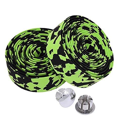 KINGOU Black & Green Camouflage EVA Road Bike Handlebar Tape
