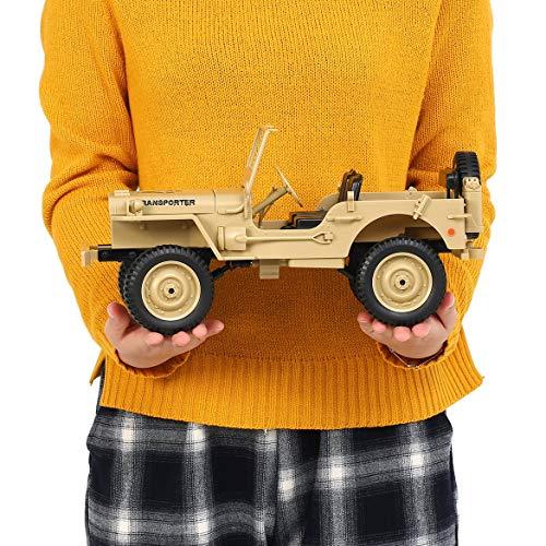 Moderne Cabrio-3 Licht (JohnJohnsen JJR / C Q65 1:10 RC 2,4G Cabrio Fernbedienung Licht Jeep Allradantrieb Offroad-Militär-LKW Klettern Auto Spielzeug (gelb))