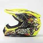 Leoie Helmet,Full Protection Off Road Casco Motorcycle Moto Dirt Bike Motocross Racing Helmet Fluorescent Yellow XL