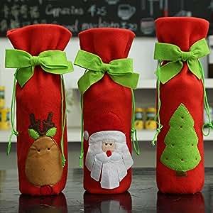 Sacchetto di bottiglia di vino di Natale, 3 pezzi Patterns di albero di Santa Elk Coperte di bottiglia di vino rosso con i legami graziosi del regalo di natale per la decorazione della Tabella del par (Rosso)