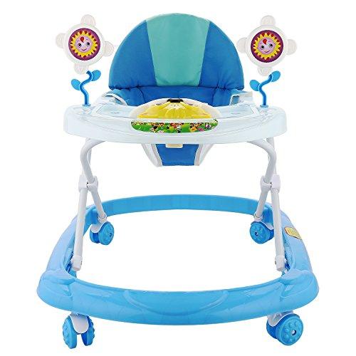 Tomasa Gehfrei Lauflernhilfe baby/Walker für Baby mit Spielcenter/Musik Spielstation Faltbarer Lernlaufwagen Spaß Wanderer, 65 x 53 x 55 cm (Blau)