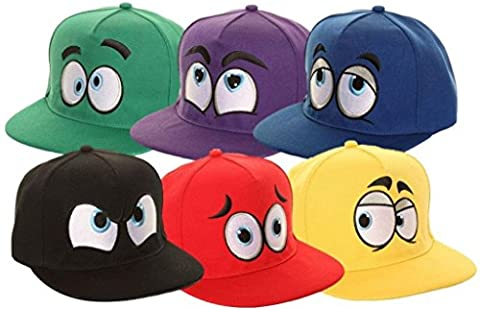Fantastically Fun Childrens Novelty Adjustable Baseball Cap / Available in 6 Vibrant Colours and Expressions (Red)