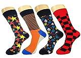 FULIER Hombre de 4 Pack Stripe algodón rico, cómodo, transpirable, diseño elegante calcetines de colores de moda (Color10)