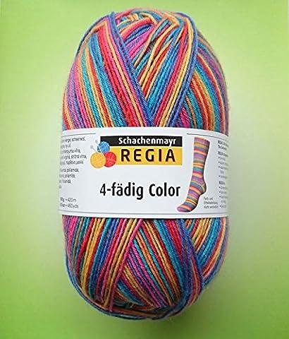 Hdk-Versand Schachenmayr 100 Gramm Regia 4-fädig Color Sockenwolle (Exotic 3726)