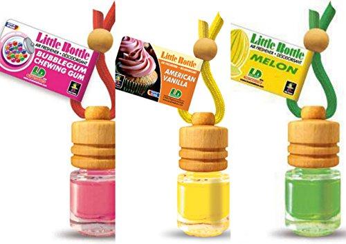 3 elegante Duftflakons für Auto und Wohnung Bestseller Mix: 1 x American Vanilla - süsse Vanille, 1 x Bubble Gum - Kaugummi,1 x Sweet Melon - Melone