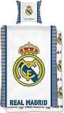 BERONAGE Wende-Bettwäsche Real Madrid - Die Königlichen blau/weiß 100% Baumwolle - Linon/Renforcé - Fußball-Bettzeug - Primera Division Bettbezug Fan-Bettwäsche Fussball-Bettwäsche deutsche Größe