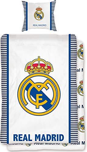 Real Madrid Bettwäsche Die Königlichen blau weiß 135 x 200 cm + 80 x 80 cm 100{df27864575183d852d61021fe6058fb5f52e3d2eb7ae9f2fb4370ae394b2dbfb} Baumwolle Linon Renforcé Fußball Bettzeug Primera Division Bettbezug Kinder Wende-Fan-Bettwäsche deutsche Größe