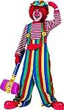 erdbeerclown - Bunte Kinder Latzhose mit coolen Knöpfen- gestreiftes Clownkostüm, 140-146, 10-11 Jahre, Mehrfarbig
