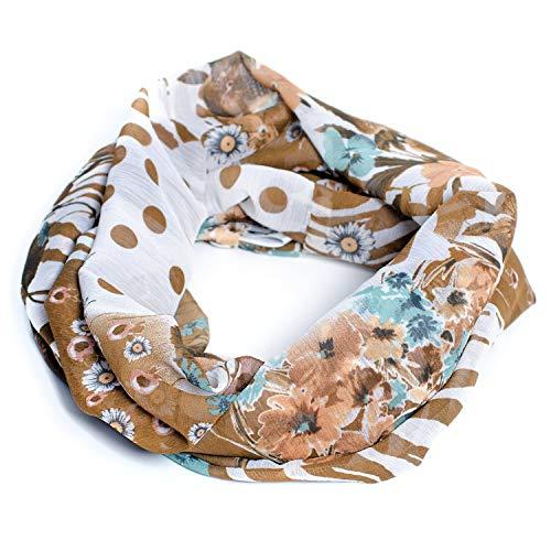 maxx.denno Label brit-M, Damen-Loop-Schals, Outlet, mit kreativ schönen Motiven, Made in Germany (Braune Blumen) -