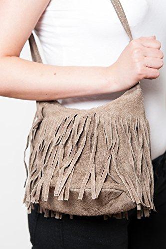 Schultertasche , Umhängetasche mit Fransen, ( 23/ 17/ 15 cm) echtes Leder Mod. 2063 by Fashion-Formel Taupe