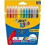Bic Kids Kid Couleur Pennarelli a Punta Media con Inchiostro a Base d'Acqua Confezione 12 Pennarelli Colori Assortiti