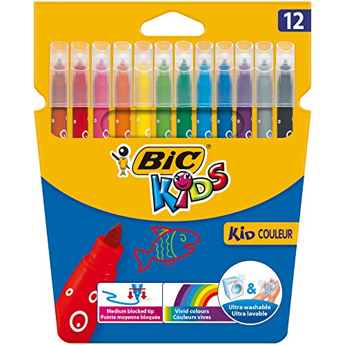BIC Kids Fasermaler Kid Couleur - auswaschbare Filzstifte – 1 x 12 bunte Kinder Filzstifte – Ab 5 Jahren – Im Kartonetui