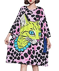 ELLAZHU Women Autumn Long Sleeves Cartoon Leopard Print Loose T-Shirt Dress GA1029 A