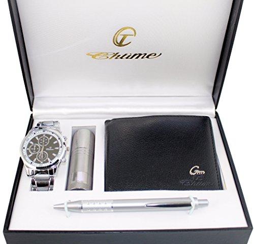 Geschenkbox mit Herren-Armbanduhr, Geldbörse, Kugelschreiber und Taschenlampe