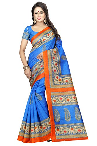 KBF Cotton Silk Saree(Blue_Free Size)
