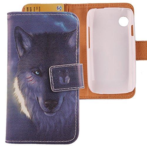 Lankashi PU Flip Leder Tasche Hülle Case Cover Schutz Handy Etui Skin Für Wiko Ozzy Wolf Design