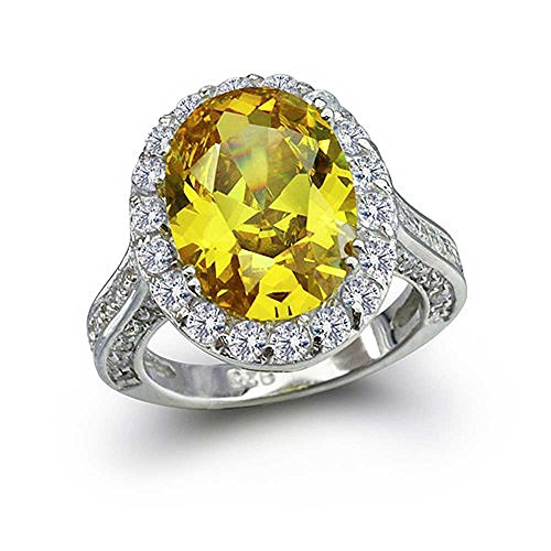 Engagement Ringe Gelbe (Bling Jewelry 925er Sterling Silber Oval 6 Karat Kanariengelb CZ Engagement Ring)