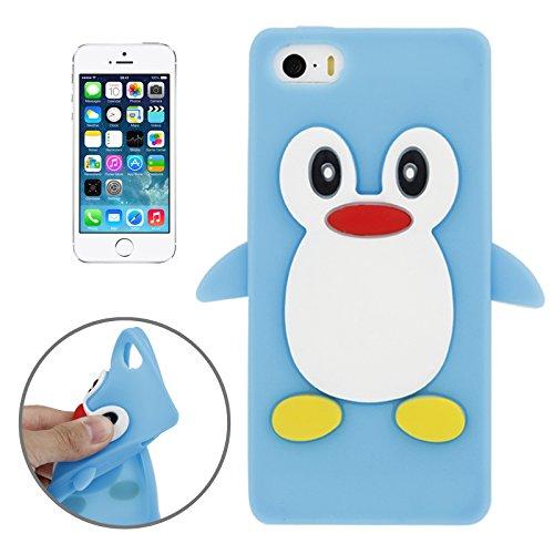 Coque silicone cartoon Pingouin pour iphone 5 et 5S bleu