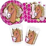 Procos/Carpeta 77-TLG. Party-Set * BRAUNES Pferd * mit Teller + Becher + Servietten + Deko | Motto Geburtstag Kinder Kindergeburtstag Reiten Mädchen Pink Pony