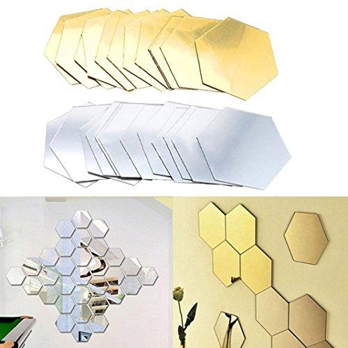 Preisvergleich Produktbild Neu Dekorative Wanduhr Wandaufkleber, Jaminy 12st 3D Spiegel Sechseck Vinyl Abnehmbar Wandaufkleber Dekorieren Home Decor Art DIY (Silber)
