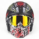 XINKUE Casque de Moto Cool Skull Harley,Demi-Casque 3/4 de Locomotive Moto Universelle Four Seasons,Ensemble de Lunettes de Masque, Certification Dot,M:57~58cm