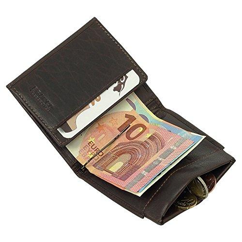 Sportliche Leder Dollarclip Herren Geldbörse Geldclip Geldbeutel mit Geldklammer Dunkelbraun