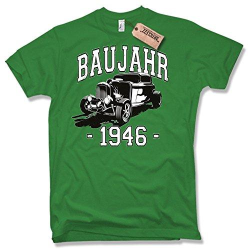 BAUJAHR 1946, Hot Rod, 70. Geburtstag, verschiedene Farben, Gr. S - XXL Grün / Green
