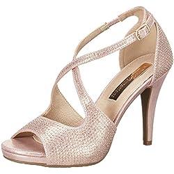 XTI Damen Metallic Textile Ladies Shoes Pumps Sandalen, Pink (Nude), 39 EU