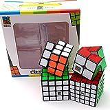Wings of wind - Juego Speed Magic Cube de 2x2, 3x3,4x4 y 5x5, Paquete de regalos Puzzle Sticker Bundle Pack (Moyu MFS)