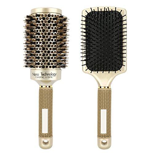 Luxspire set pettine capelli, [2 pezzi] spazzola rotonda + spazzola piatta con setole in ceramica ionica spazzola antistatica professionale