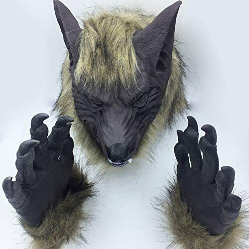 Wolf Gray Kostüm - Ankoy Halloween Handschuhe Tier Handschuhe Silikon Maske Wolf Kopf Maske Party Dekoration Wolf Kopf Maske Kostüm Theater Requisitendark Gray Wolf Head + Dark Gray Gloves