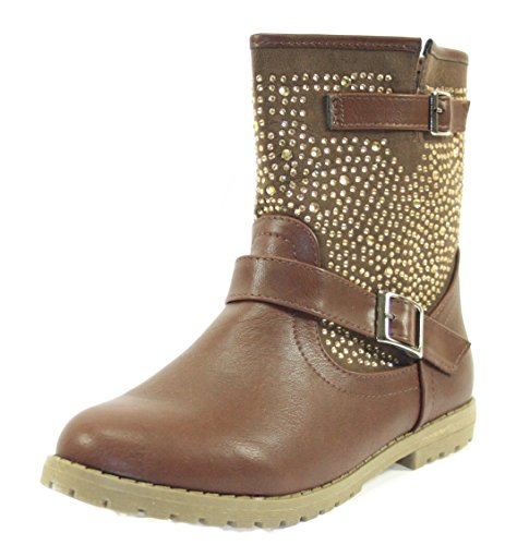 Boots Stiefeletten Damenschuhe Farbe Braun mit seitlichen Schnallen Braun