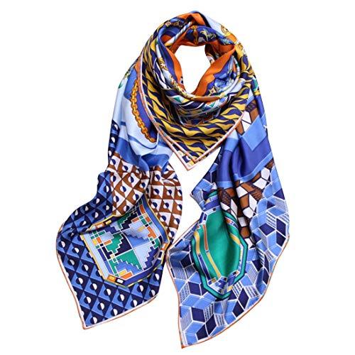 Chengduaijoer Schmuck und Kompass Warm Schal für Frauen Seidenschal 140cm Square Twill Seidenschal (Color : Blue)