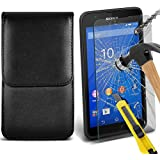 Fone-Case ( Black ) Sony Xperia E4G étui Cover Case Brand New Luxury Cuir Side Faux PU Vertical Pull Tab Pouch Housse de la peau avec Protecteurs d'écran en verre trempé Crystal Clear LCD
