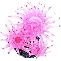 Decoración de Planta Artificial Echinoidea Coral Ornamento de agua de Acuario Tanque de peces de plástico suave falsa