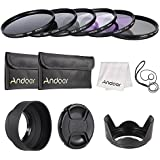 Andoer 67mm Lens Filter Kit UV+CPL+FLD+ND(ND2 ND4 ND8) With Carry Pouch/Lens Cap/Lens Cap Holder/Tulip & Rubber Lens Hoods/Cleaning Cloth