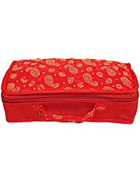 Kuber Industries Brocade Silk Jewellery Kit, Red (CTKTC580)