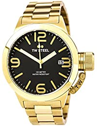 TW Steel Unisex Quartz Watch with Black Dial Chronograph Display and Black Leather Strap CE1030