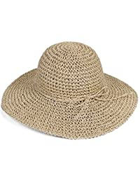 HugeStore Floppy Foldable Wide Brim Chic Sun Hat Sun Visor Summer Beach Straw  Hat for Women c0252e9f3664