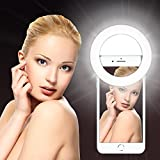 Skudgear Rechargeable Selfie Ring Light with 32 LED for Smartphone Camera - Suitable for All Smartphones Apple, Android and Windows - White/Black/ Blue