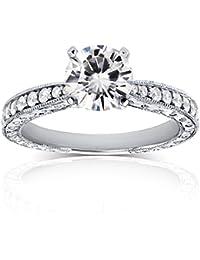 Envejecido para siempre brillante Moissanite anillo de compromiso de diamantes y 11/4quilates en 14K oro blanco _ 7,5