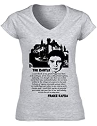 Teesquare1st Women's FRANZ KAFKA THE CASTLE QUOTE Grey T-Shirt